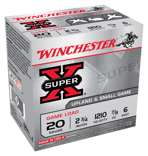 "WIN AMMO SUPER-X 20GA. 2.75"" 1210FPS. 7/8OZ. #6 25-PACK - for sale"